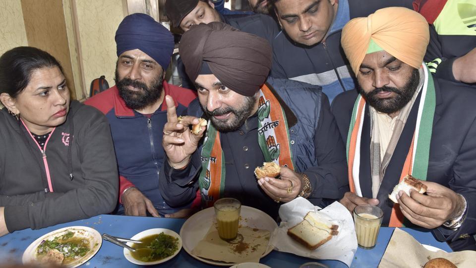Navjot Singh Sidhu at the popular Giani Tea Stall during poll campaign inAmritsar on Sunday.