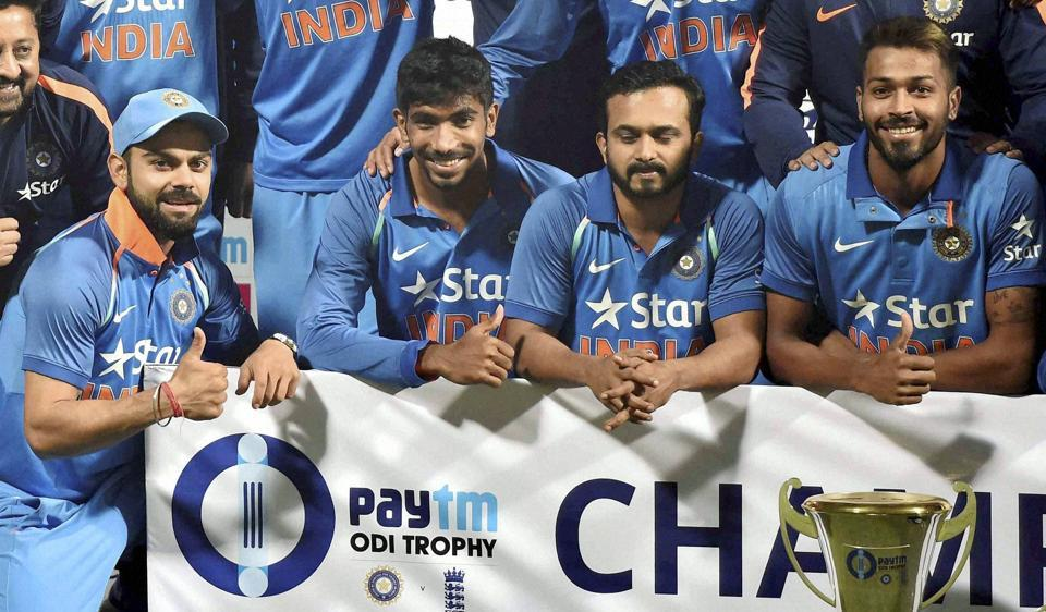 Captain Virat Kohli and other Indian cricket team members celebrate after winning the England series 2-1.