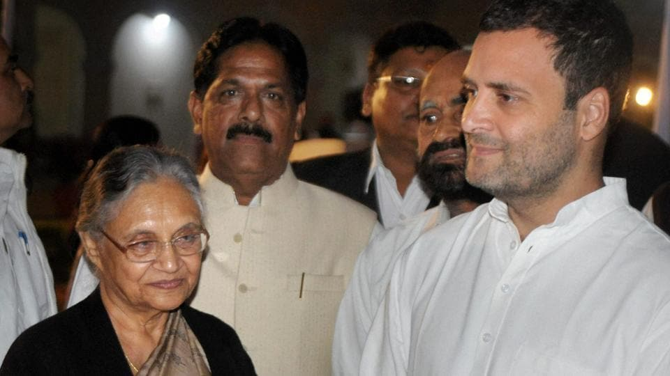 Congress vice-president Rahul Gandhi with former Delhi CM Sheila Dikshit in Allahabad.