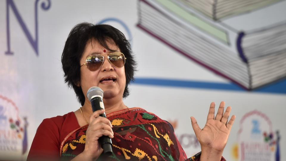Taslima Nasrin during the last day of the Jaipur Literature Festival at Diggi Palace on Monday.