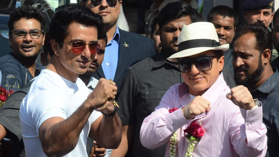International superstar Jackie Chan arrives in Mumbai. He is accompanied by Sonu Sood, his co star in the upcoming Kung Fu Yoga. (Pramod Thakur/Ht Photo)