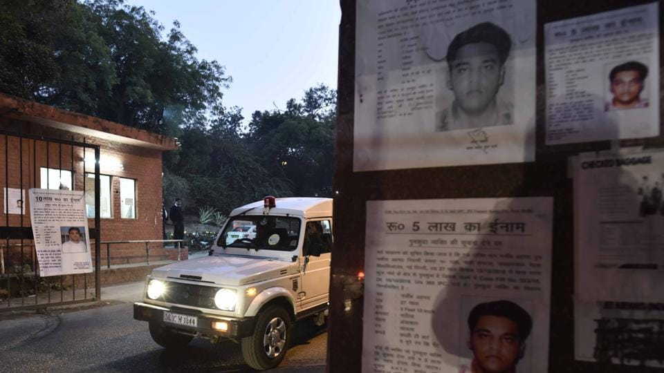 Posters of missing student Najeeb Ahmed put up outside the JNU campus.