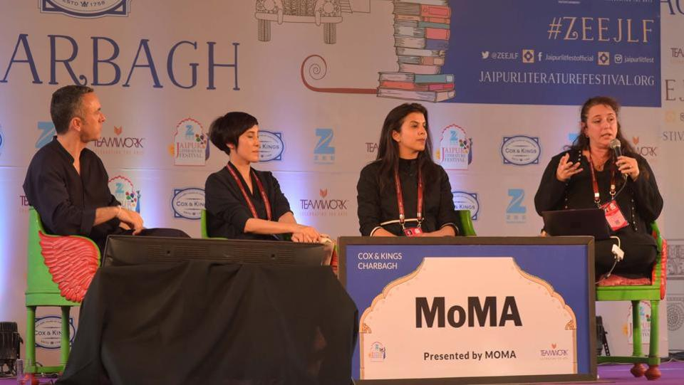 Reena Saini Kallat, Tania Bruguera and Tiffany Chung in conversation with Sean Anderson during the session 'Citizens and Borders' at JLF 2017 in Jaipur, Rajasthan. (Prabhakar Sharma/HT Photo)
