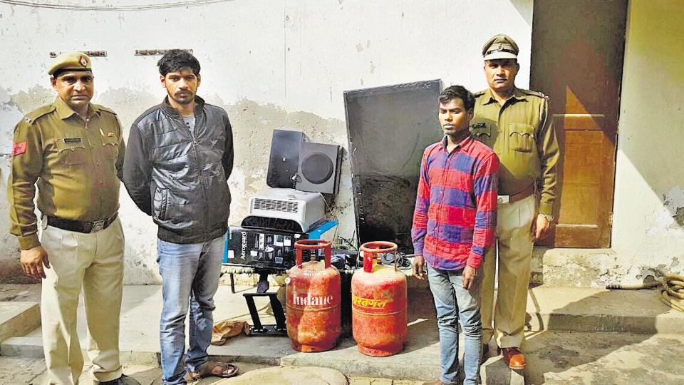 The police recovered a Mahindra Scorpio SUV, an LCD TV, a DVD player, a water purifier, a home theatre, a mobile phone and two gas cylinders.