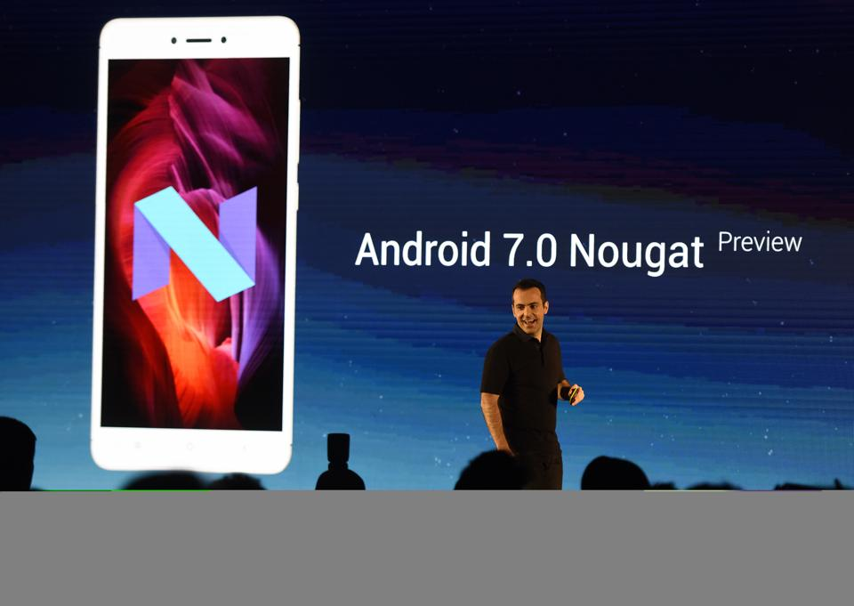 Hugo Barra, Vice President of Xiaomi Global, unveiling Redmi Note 4 phones in New Delhi, India on January 19