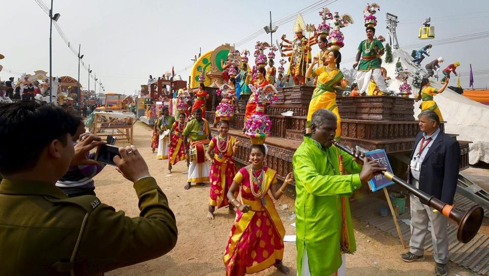 Artistes from Tamil Nadu practice for the Republic Day function.