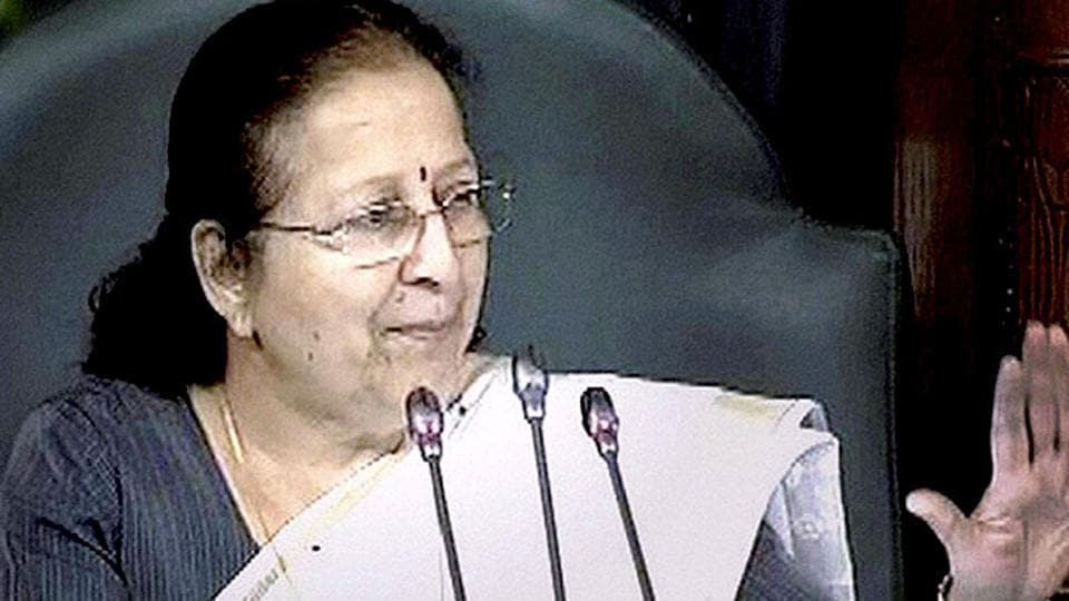 Lok Sabha speaker Sumitra Mahajan during proceedings of the lower House of Parliament.