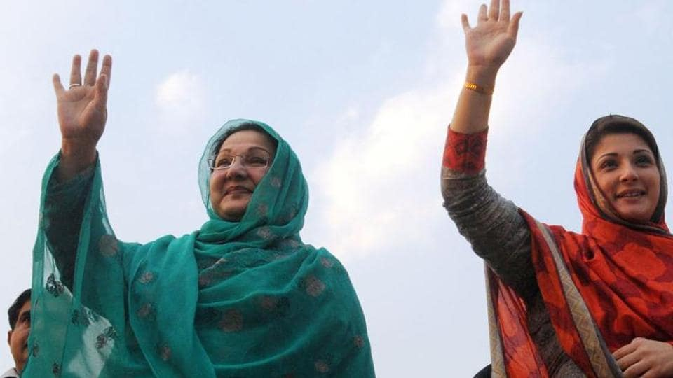 File photograph shows Pakistan's Prime Minister Nawaz Sharif's daughter  Maryam Nawaz (right) and her mother Kulsoom Nawaz waving to supporters during an election campaign rally in Lahore in 2014.