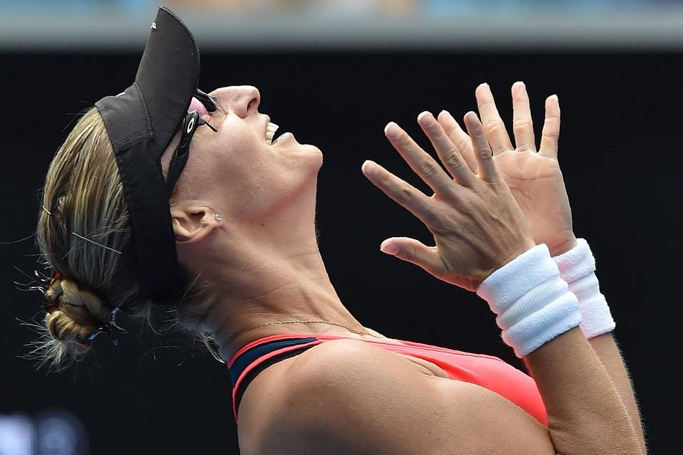 Croatia's Mirjana Lucic-Baroni celebrates her win against Jennifer Brady of the US in the fourth round of the Australian Open on Monday.