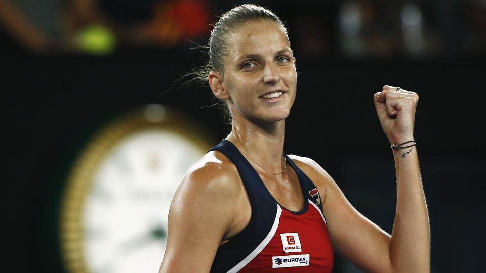 Czech Republic's Karolina Pliskova celebrates winning her Women's singles fourth round match against Australia's Daria Gavrilova.  (REUTERS)