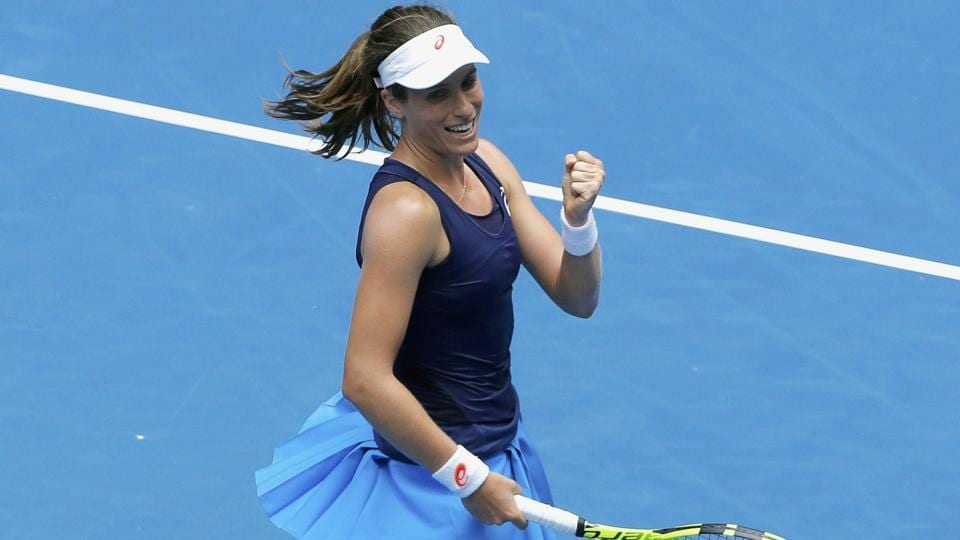 Johanna Konta celebrates winning her Women's singles fourth round match against Russia's Ekaterina Makarova. (REUTERS)