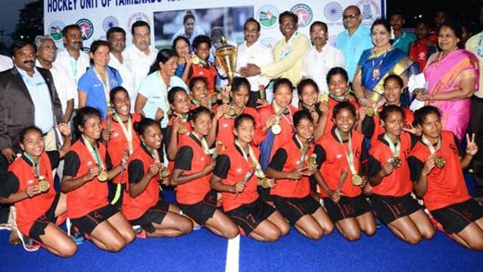 Jharkhand women sub junior hockey team after winning the 7th National Hockey tournament at Ramnathampuram , Tamilnadu