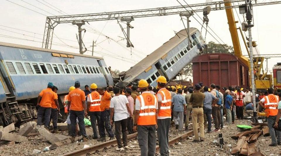 Rescue and relief work in progress at the site where Jagdalpur-Bhubaneswar Express train derailed near Kuneru station in Vizianagaram district of Andra Pradesh on Sunday. Saturday's derailment of Hirakund Express is also being checked to see whether it was also an act of sabotage.