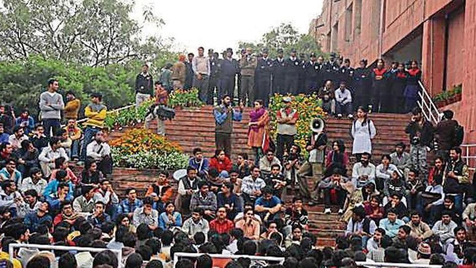 Students at the administrative block in JNU which has become a site of protest.