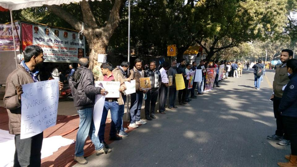Students from Delhi University colleges protest at Jantar Mantar. Protests in Chennai and other parts of Tamil Nadu are influencing youngsters from other states to participate too.