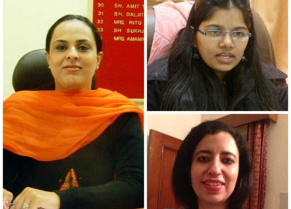 (Clockwise from left ) Amninder Kaur Brar, Ruhi Dugg and Anuprita Johal .