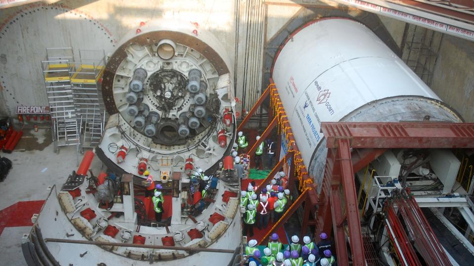 A tunnel boring machine in the tunneling area in front of Bapu Bhawan.