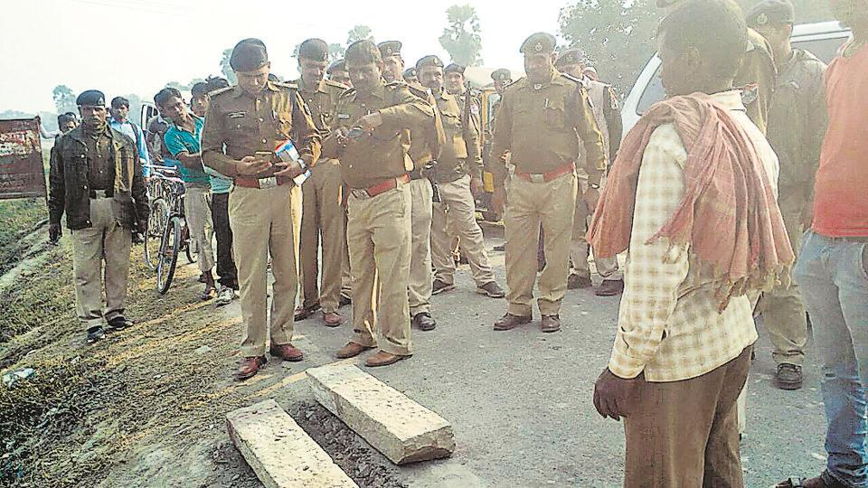 GRP personnel inspect the site after removing the two stone slabs placed on railway tracks.