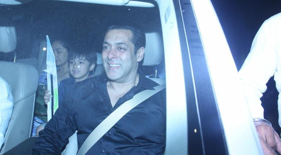 Salman Khan arrives for a  party for Jackie Chan at JW Marriott, Juhu. (Pramod Thakur/HT Photo)