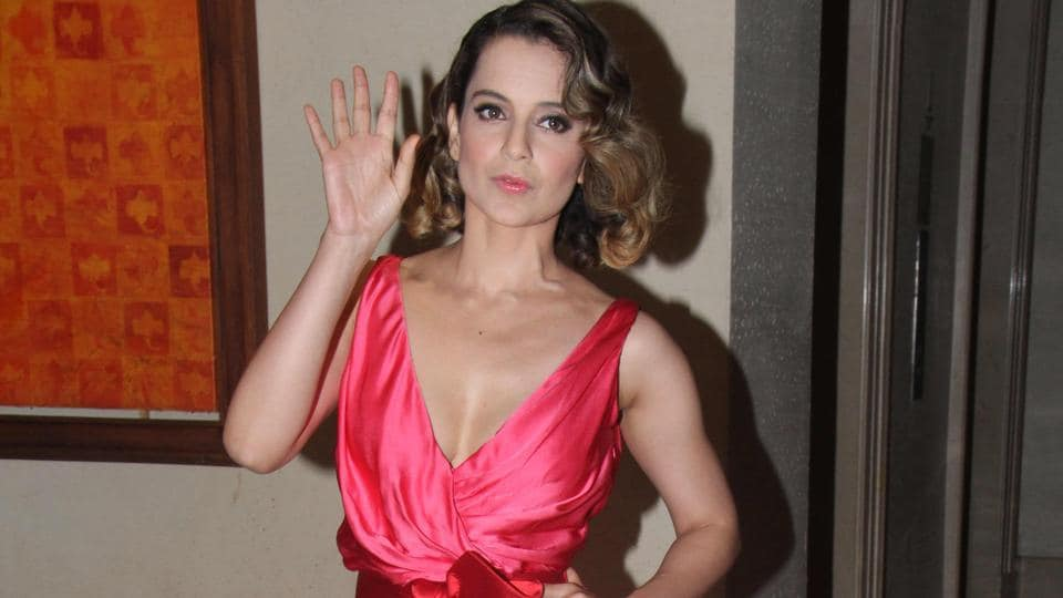 Kangana Ranaut arrives for an event organised to welcome star Jackie Chan to Mumbai. (Pramod Thakur/HT Photo)