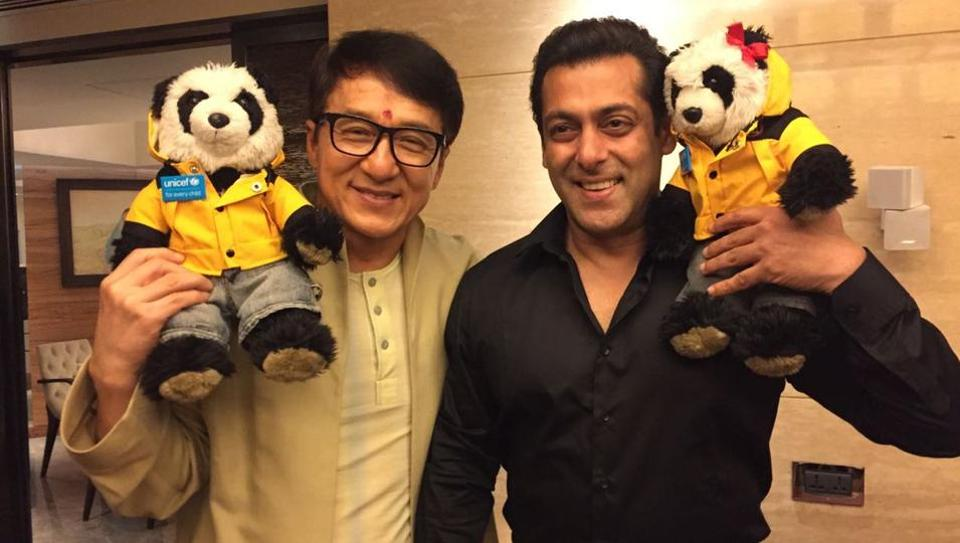 Actor Jackie Chan poses with Salman Khan in Mumbai. The Hong Kong star is in town to promote his new film Kung Fu Yoga.  (PRATwitter)