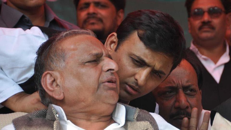 Samajwadi Party patriarch Mulayam Singh Yadav with son Aklhilesh Yadav in Lucknow.