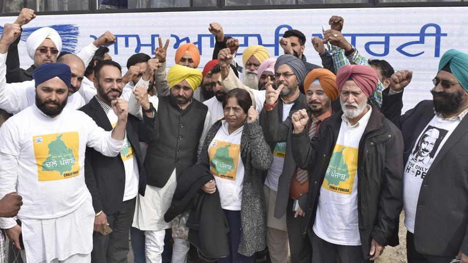 AAP leader Bhagwant Mann along with NRIs in Amritsar on Monday.