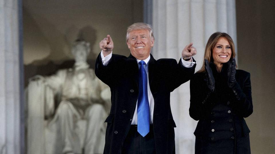 Then president-elect Donald Trump and his wife Melania Trump at the Lincoln Memorial, January 19, 2017