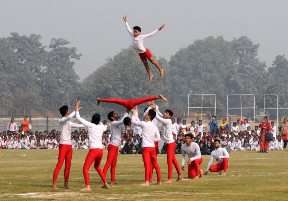 Students of Rao Ram Singh School perform yoga during the full dress rehearsal of 68th Republic Day function in Gurgaon, January 24, 2017.