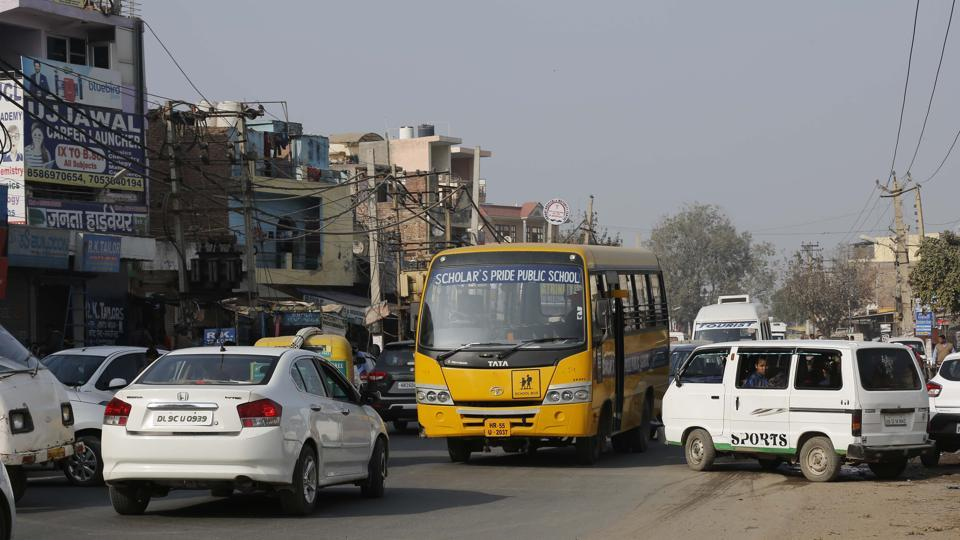 A snarl at Old Gurgaon after a school bus halted to drop students in the afternoon.