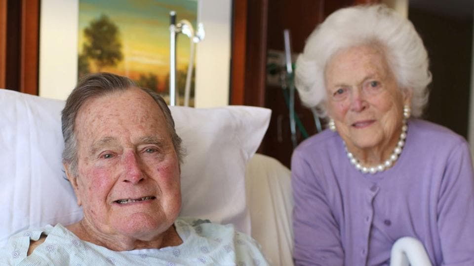 Former President George H.W. Bush and his wife Barbara Bush are pictured in Houston Methodist Hospital in Houston, Texas, US on January 23.