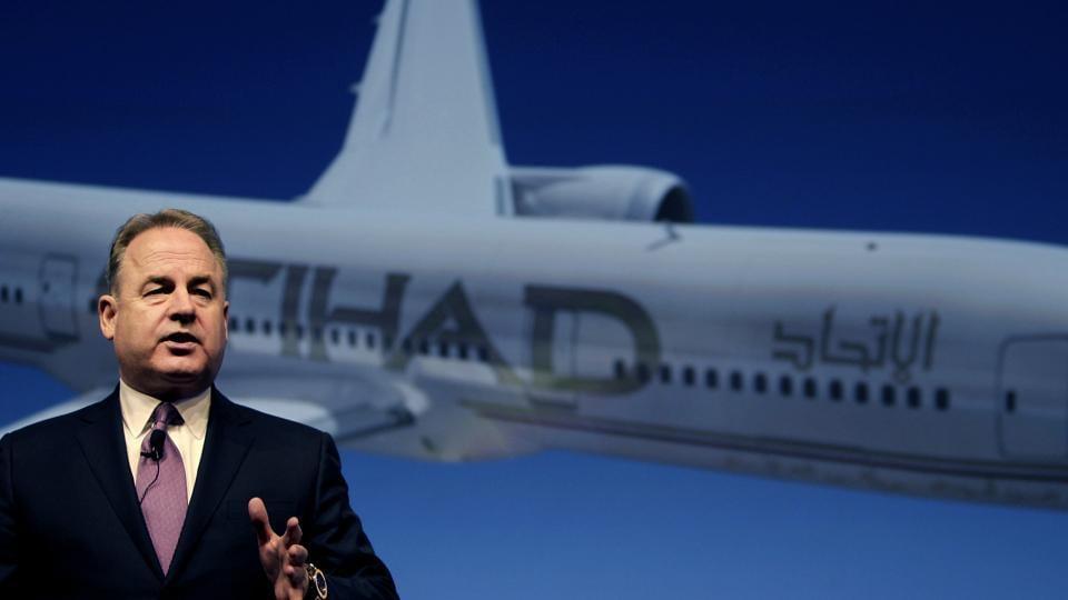 Etihad Chief Executive James Hogan, speaks during a press conference in Abu Dhabi, United Arab Emirates.