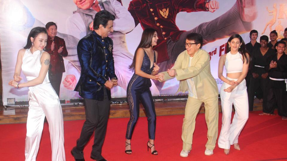 Jackie Chan welcomed at J W Marriott, Juhu in Mumbai. (Pramod Thakur/HT PHOTO)
