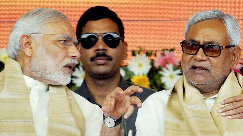 Prime Minister Narendra Modi with Bihar chief minister Nitish Kumar at a function for the launch of a number of government schemes in Patna.