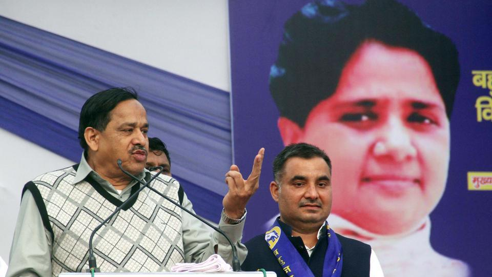 BSP national general secretary Nasimuddin Siddiqui addressed party workers at a rally in Noida on Tuesday.