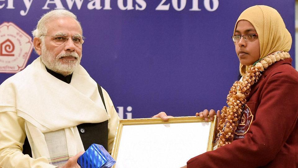 Prime Minister Narendra Modi presenting award at the National Bravery Awards 2016 function in New Delhi on January 23.