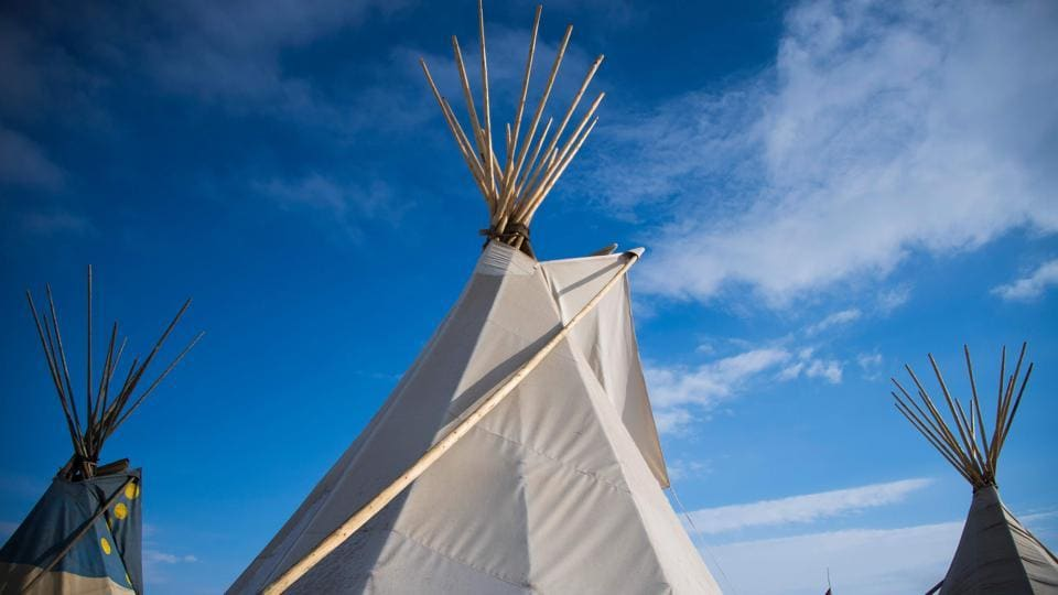 A group of teepees at the Oceti Sakowin Camp on the edge of the Standing Rock Sioux Reservation outside Cannon Ball, North Dakota, as native Americans and activists from around the country gather at the camp trying to halt the construction of the Dakota Access Pipeline.