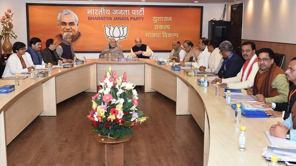 Prime Minister Narendra Modi, BJP President Amit Shah and other BJP leaders during the a meeting for Uttar Pradesh state elections, in New Delhi.