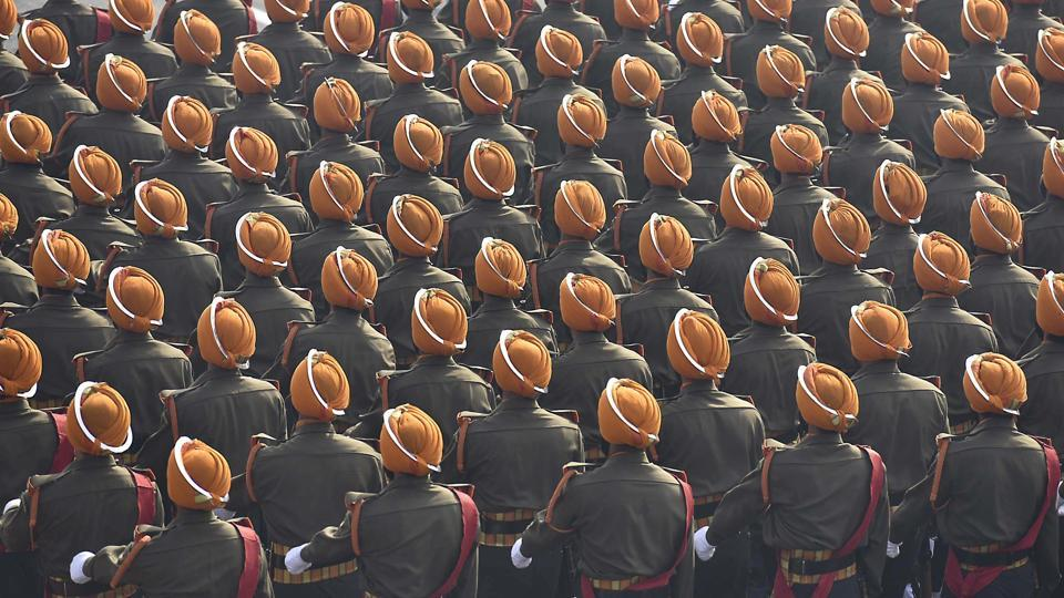 Soldiers of the Sikh Regiment during the full dress rehearsal of Republic Day parade at Rajpath on Monday.