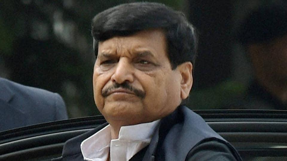 SP leader Shivpal Singh Yadav at the residence of party chief Mulayam Singh Yadav in New Delhi.
