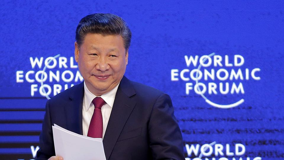 China's President Xi Jinping at the World Economic Forum in Davos, Switzerland, January 17, 2017