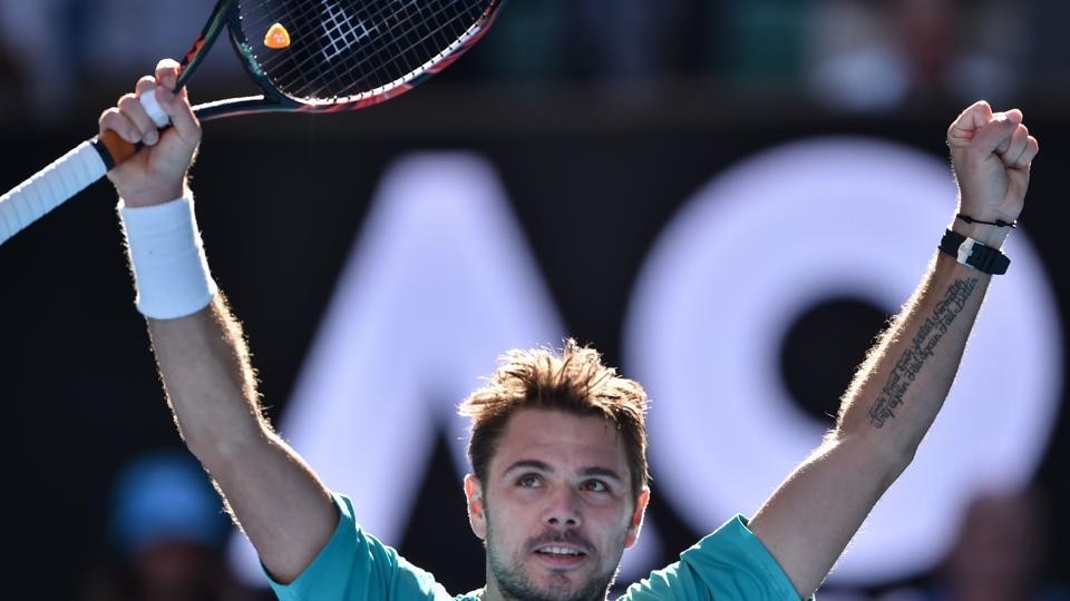 Switzerland's Stan Wawrinka celebrates his victory against France's Jo-Wilfried Tsonga at the Australian Open on Tuesday.