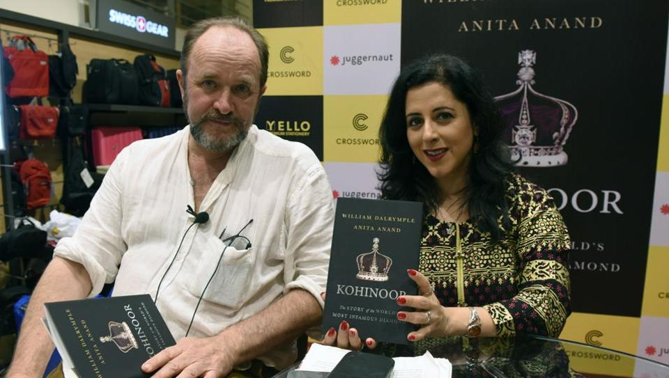 William Dalrymple and Anita Anand during their book launch at Crossword bookstore in Kemps Corner in Mumbai on Tuesday.