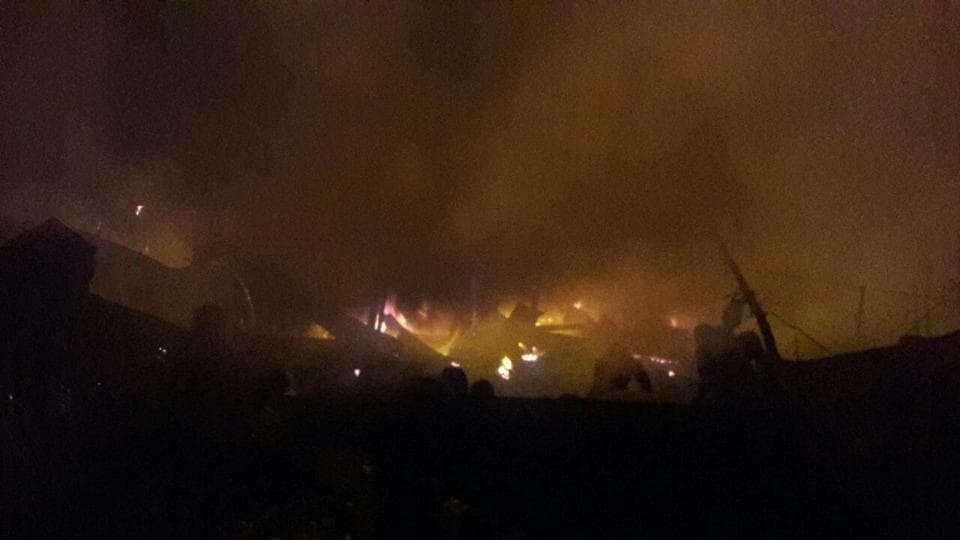 Over 100 kiosks of fruits, vegetables, garmentsand groceries went up in flames in the wee hours of Wednesday at Tugalpur Subzi Mandi, near Pari Chowk in Greater Noida.