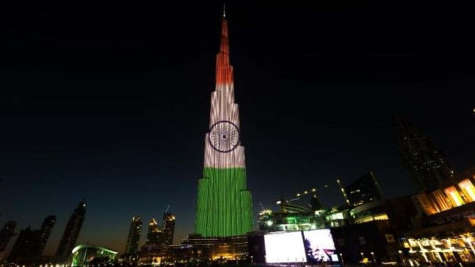 World's tallest building Burj Khalifa lit up in tricolour to celebrate India's 68th Republic Day, in Dubai on Wednesday.