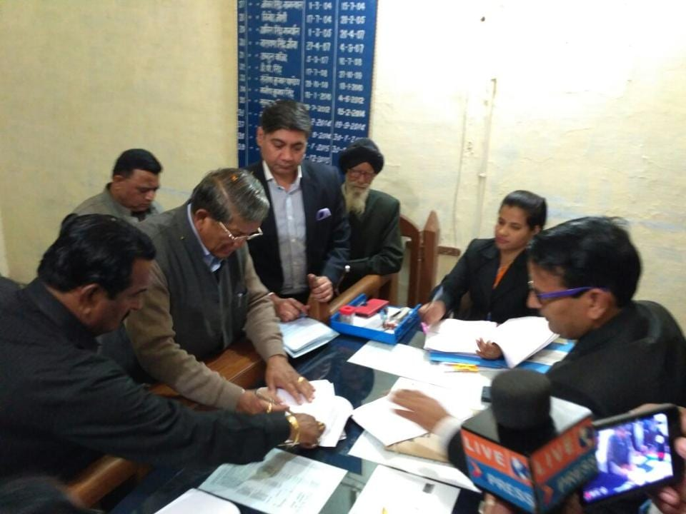 Chief minister Harish Rawat files nomination papers from Kichha , on Wednesday.