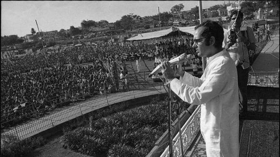 Sanjay Gandhi at Ramlila Maidan.