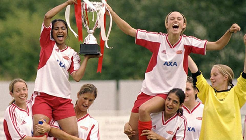 Parminder Nagra (left)  and Keira Knightley played aspiring footballers in the 2002 film Bend It Like Beckham.