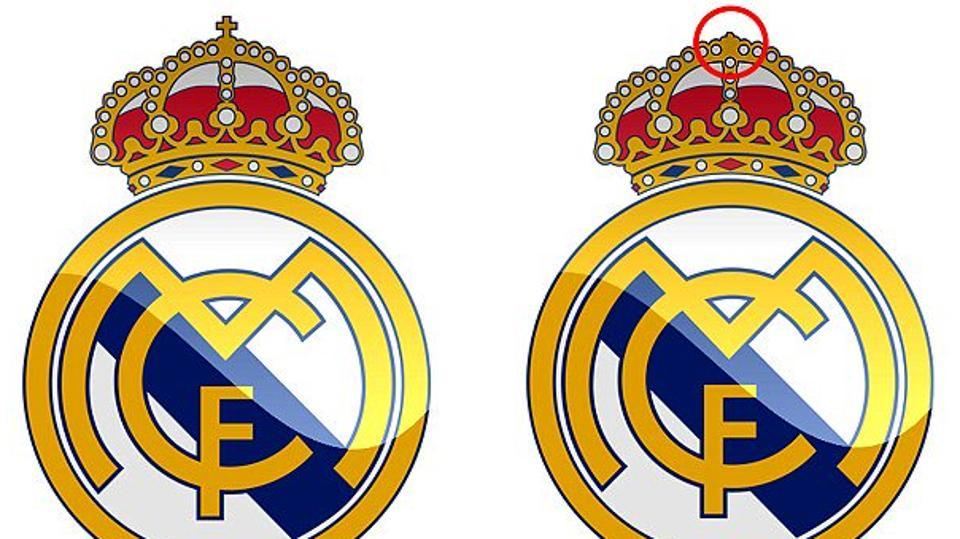 The Real Madrid club crest features a very small Christian cross at the top of a crown on the crest.