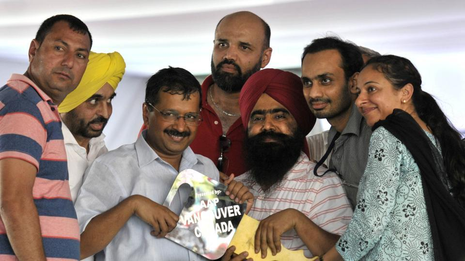 AAP supporters from Canada with  Delhi Chief minister Arvind Kejriwal.